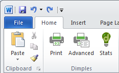 Dimples Word buttons in 'Home' tab of Microsoft Word ribbon